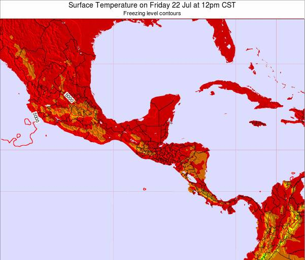 El Salvador Surface Temperature on Thursday 30 May at 12am CST map