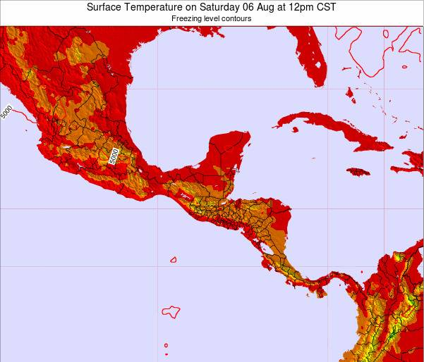 Costa Rica Surface Temperature on Thursday 07 Aug at 12am CST