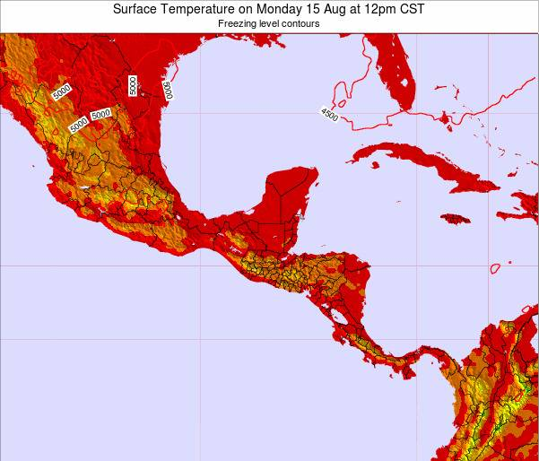 Guatemala Surface Temperature on Thursday 19 Dec at 12am CST