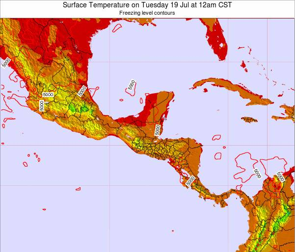 Guatemala Surface Temperature on Sunday 27 Apr at 12am CST
