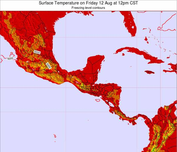 Guatemala Surface Temperature on Tuesday 05 Aug at 12pm CST