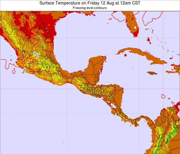 Belize Surface Temperature on Wednesday 29 May at 12pm CST map
