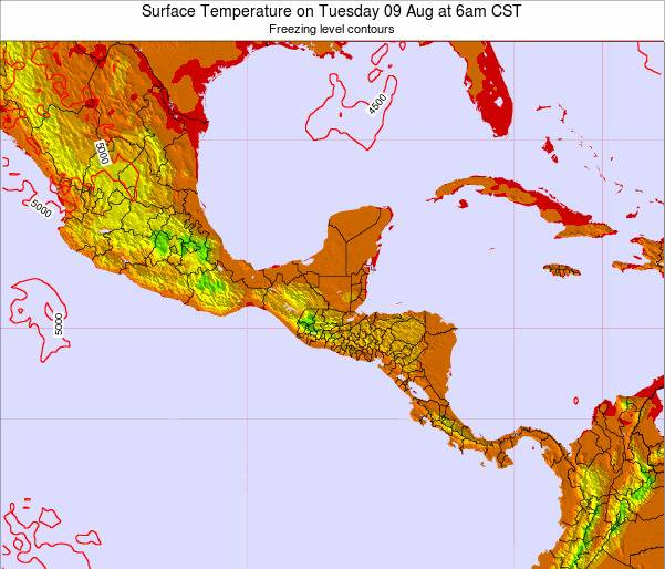 Guatemala Surface Temperature on Thursday 01 May at 12am CST