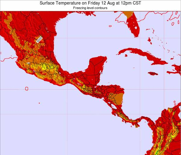 Guatemala Surface Temperature on Saturday 26 Apr at 12am CST