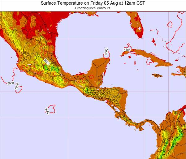 Guatemala Surface Temperature on Tuesday 29 Jul at 12am CST