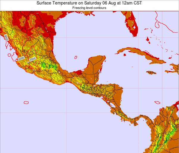 Honduras Surface Temperature on Sunday 18 Aug at 6pm CST map