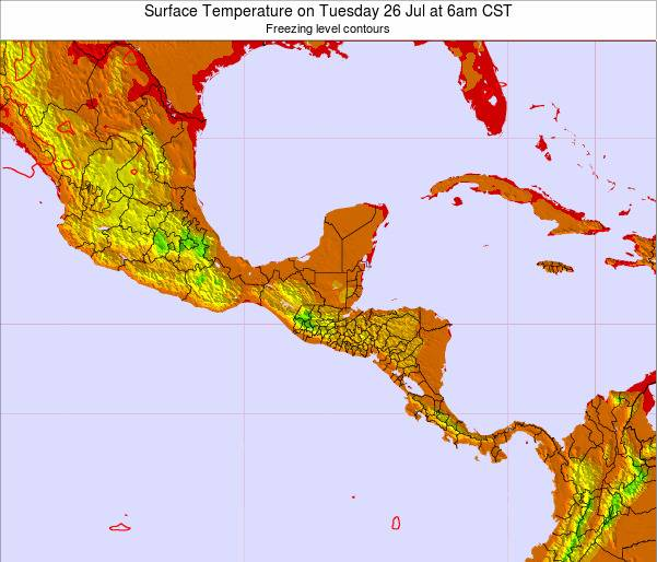 Belize Surface Temperature on Saturday 25 May at 12am CST map