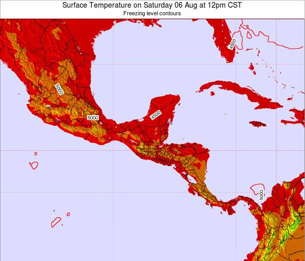 Costa Rica Surface Temperature on Sunday 19 May at 6pm CST