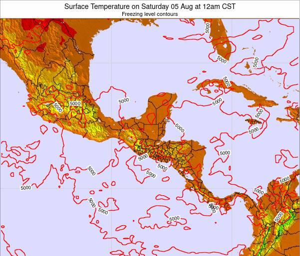 Honduras Surface Temperature on Sunday 22 Jul at 12pm CST map