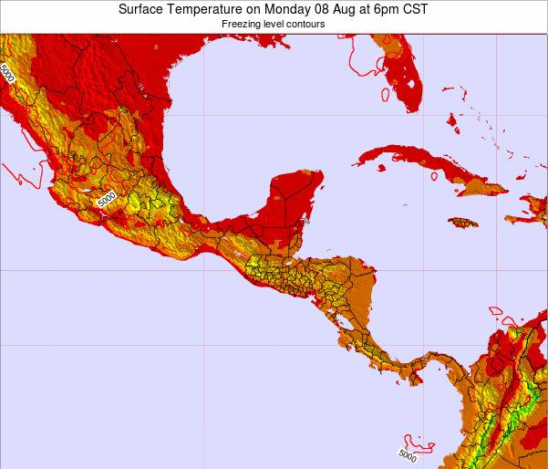 Guatemala Surface Temperature on Thursday 13 Mar at 12am CST