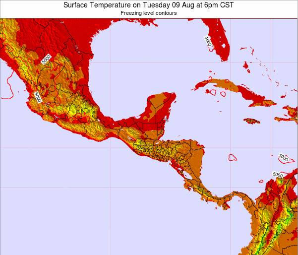 Guatemala Surface Temperature on Saturday 26 Apr at 6pm CST