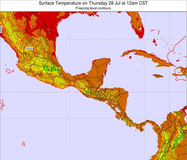 Panama Surface Temperature on Wednesday 22 May at 12pm CST