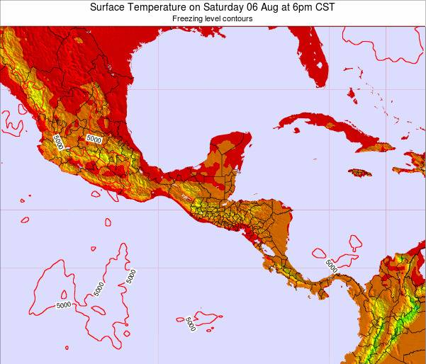 Costa Rica Surface Temperature on Thursday 28 Aug at 12am CST