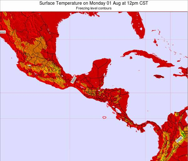 Costa Rica Surface Temperature on Monday 28 Jul at 12am CST