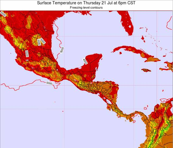 Costa Rica Surface Temperature on Tuesday 11 Mar at 12pm CST