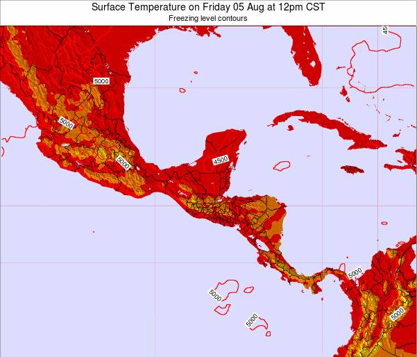 Guatemala Surface Temperature on Friday 20 Apr at 12pm CST map