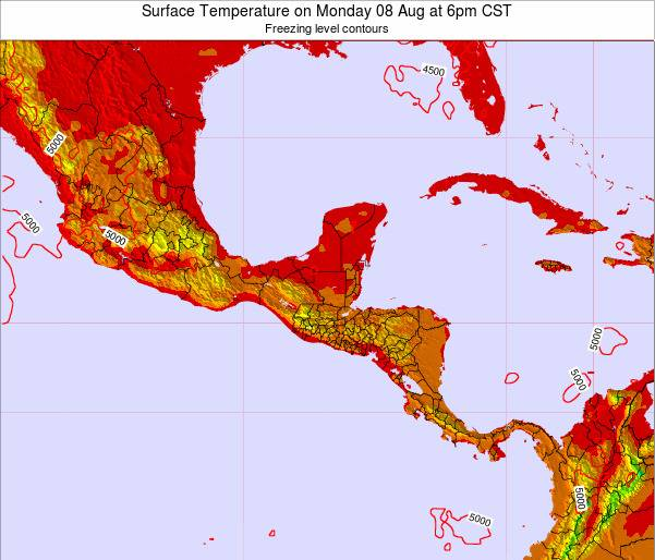 Guatemala Surface Temperature on Sunday 31 Aug at 6pm CST