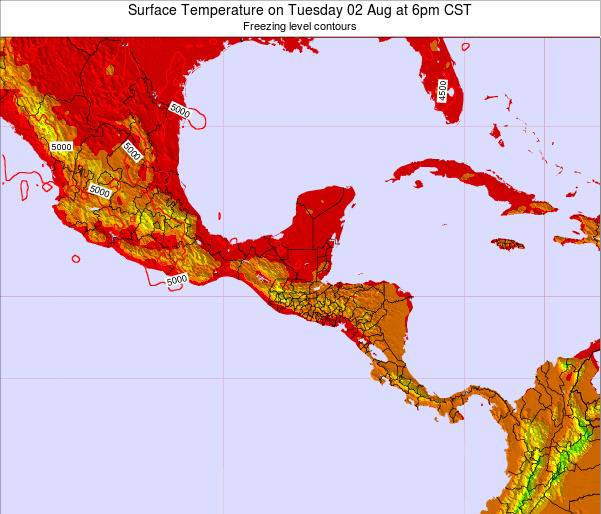 El Salvador Surface Temperature on Wednesday 22 May at 12am CST map
