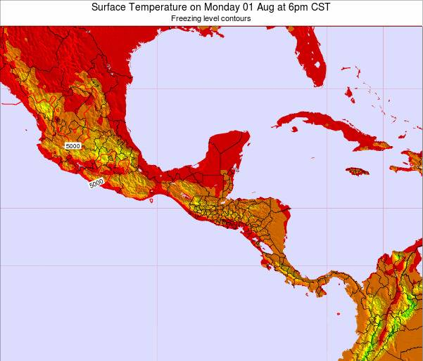 Honduras Surface Temperature on Wednesday 19 Dec at 6pm CST map