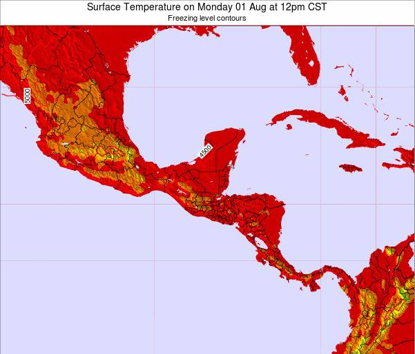 Costa Rica Surface Temperature on Wednesday 22 May at 12pm CST