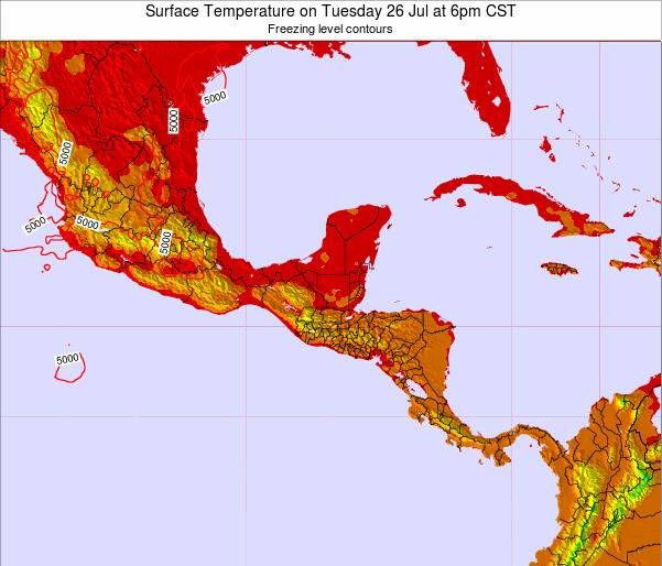 El Salvador Surface Temperature on Friday 25 Jul at 12am CST map