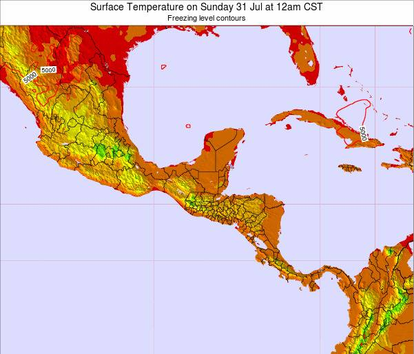 El Salvador Surface Temperature on Tuesday 11 Mar at 12pm CST map