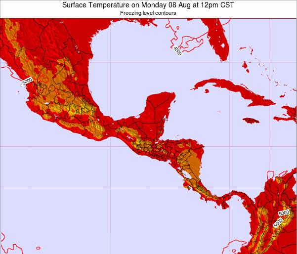 El Salvador Surface Temperature on Sunday 08 Dec at 12pm CST map