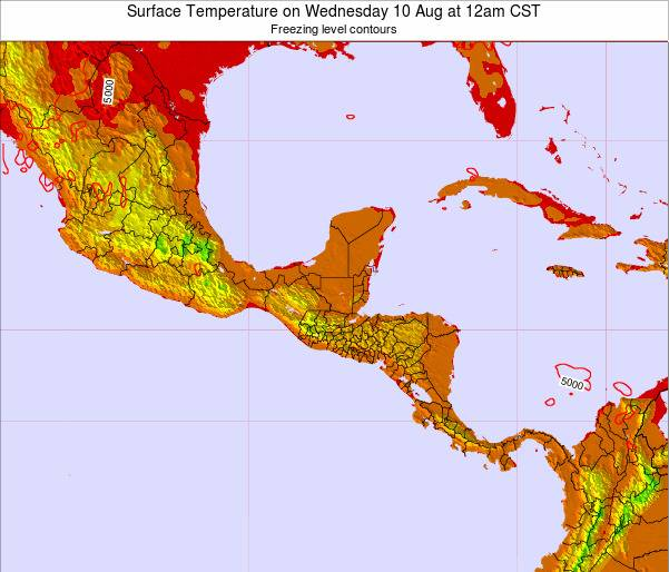 El Salvador Surface Temperature on Saturday 26 Apr at 12pm CST map