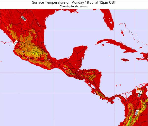 El Salvador Surface Temperature on Saturday 02 Aug at 12pm CST map