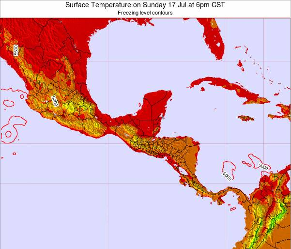 El Salvador Surface Temperature on Monday 27 May at 12am CST map