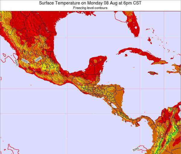 Guatemala Surface Temperature on Tuesday 27 Mar at 12pm CST map