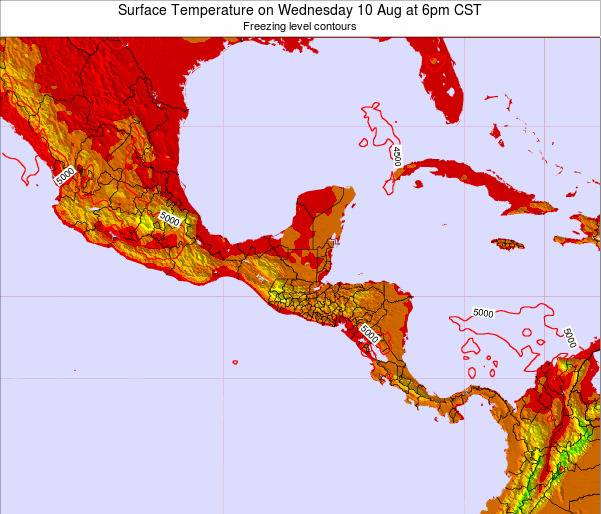 Guatemala Surface Temperature on Sunday 27 Apr at 12pm CST