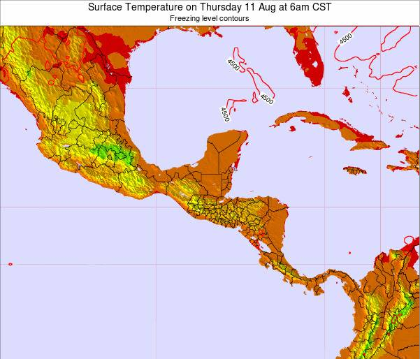 El Salvador Surface Temperature on Saturday 02 Aug at 12am CST map