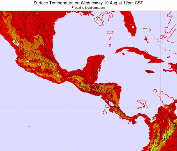 El Salvador Surface Temperature on Sunday 27 Apr at 6pm CST map