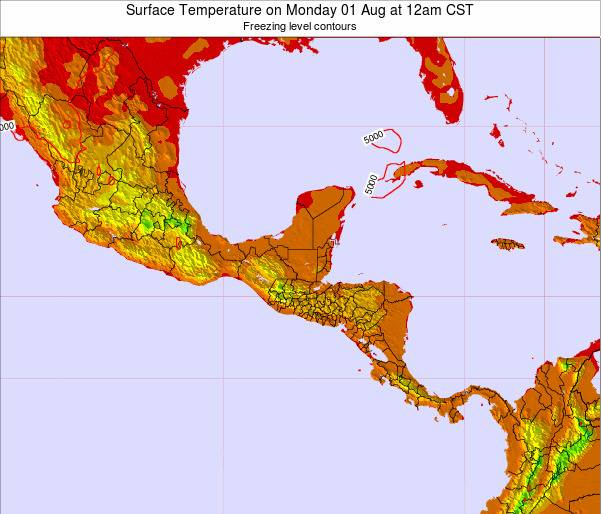 Costa Rica Surface Temperature on Saturday 26 Jul at 12pm CST
