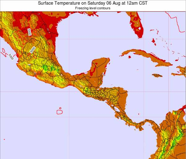 Costa Rica Surface Temperature on Monday 25 Aug at 6pm CST
