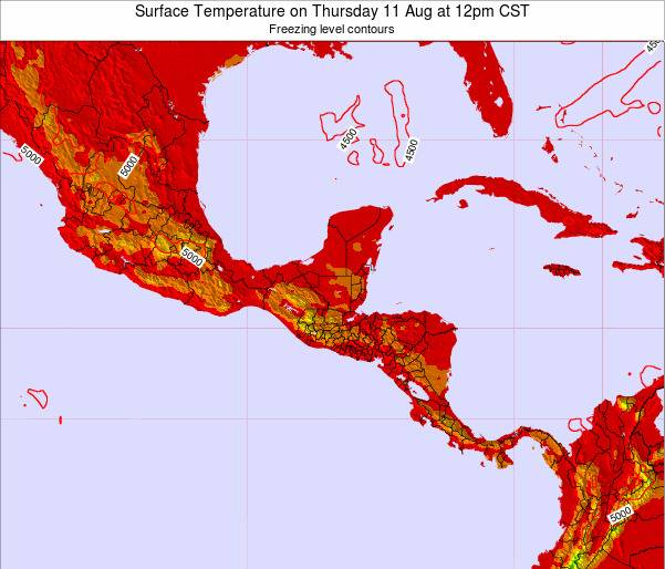 Costa Rica Surface Temperature on Monday 16 Dec at 6am CST