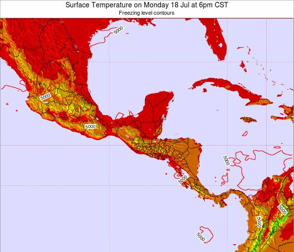 El Salvador Surface Temperature on Monday 28 Jul at 6am CST map