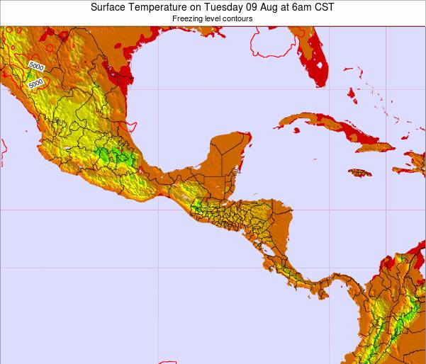 El Salvador Surface Temperature on Thursday 13 Mar at 12am CST map