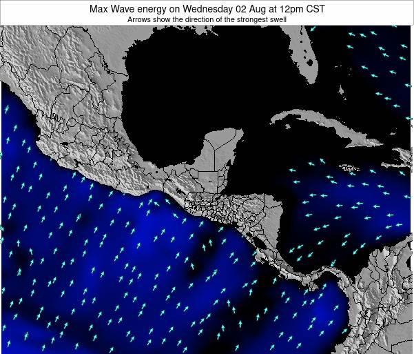 El Salvador Max Wave energy on Monday 25 Mar at 6am CST map