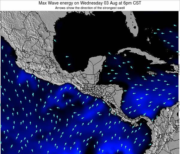 Nicaragua Max Wave energy on Monday 22 Jul at 6pm CST map
