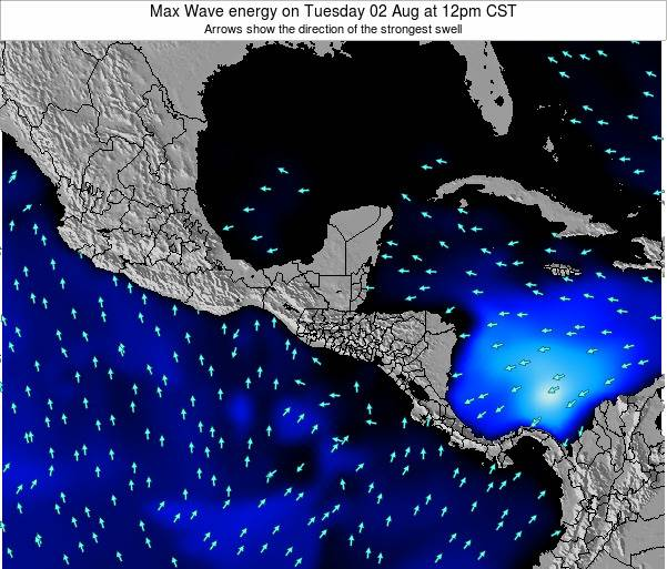El Salvador Max Wave energy on Sunday 25 Feb at 12pm CST map
