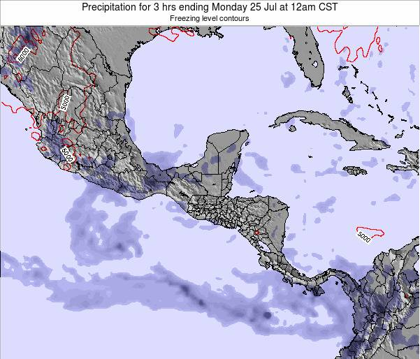 Honduras Precipitation for 3 hrs ending Wednesday 22 May at 12pm CST