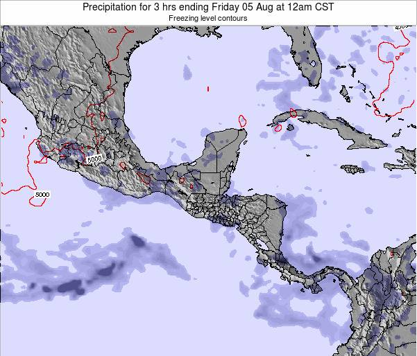 Costa Rica Precipitation for 3 hrs ending Monday 15 Oct at 6pm CST map