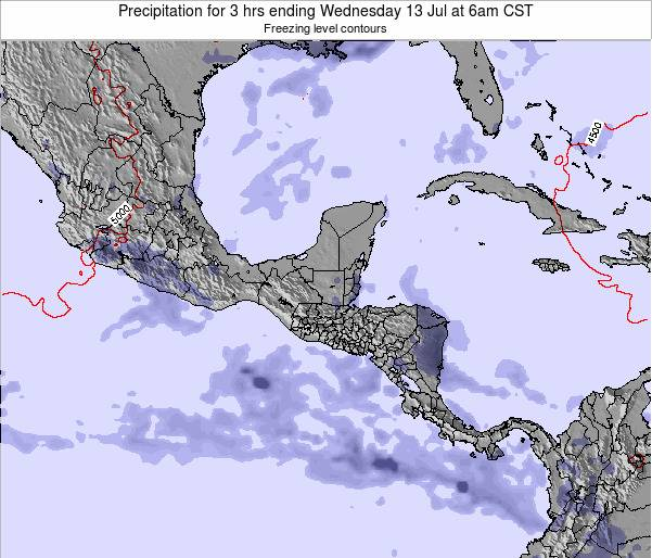 Belize Precipitation for 3 hrs ending Tuesday 21 May at 6am CST