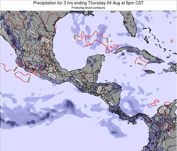Honduras Precipitation for 3 hrs ending Tuesday 21 May at 12pm CST