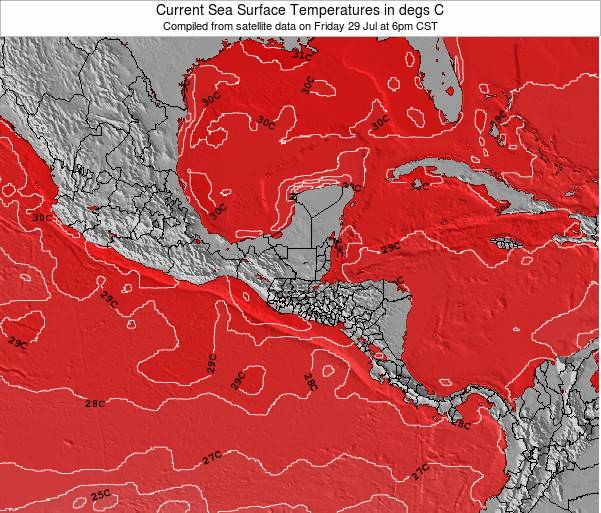 Costa Rica Sea Temperature Map
