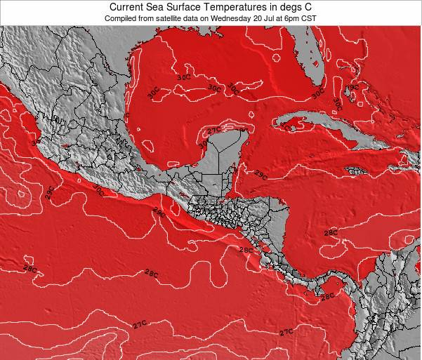 Guatemala Sea Temperature Map