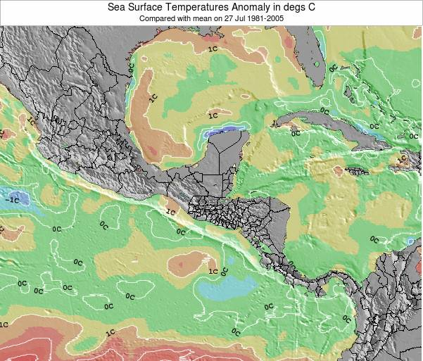 Guatemala Sea Temperature Anomaly Map