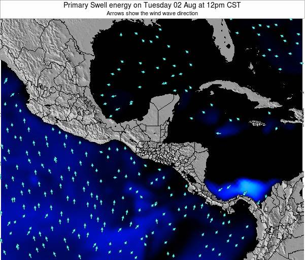 Honduras Primary Swell energy on Monday 28 Jul at 6pm CST